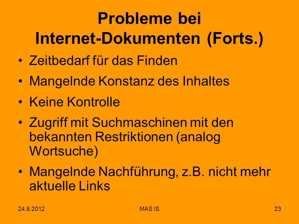 Probleme bei Internet-Dokumenten (Forts.)