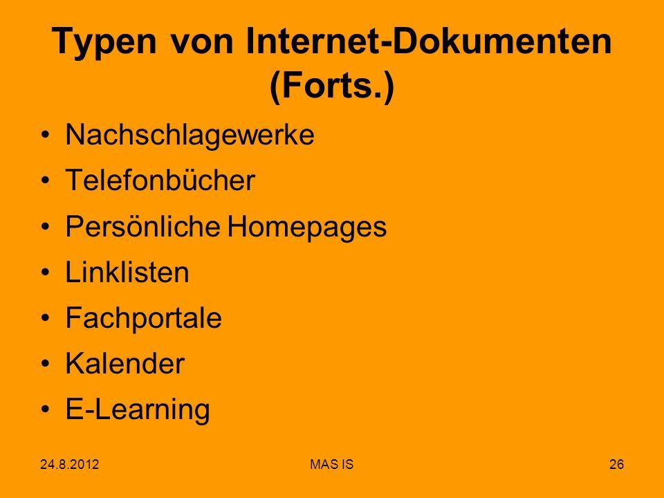 Typen von Internet-Dokumenten (Forts.)