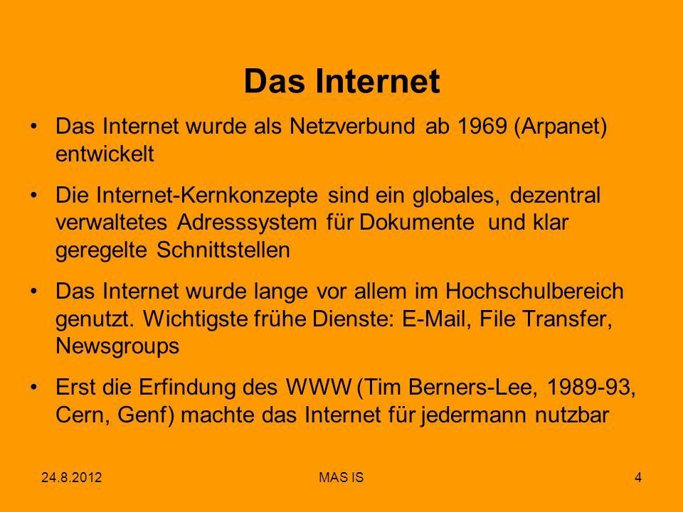 Das Internet Das Internet wurde als Netzverbund ab 1969 (Arpanet) entwickelt.