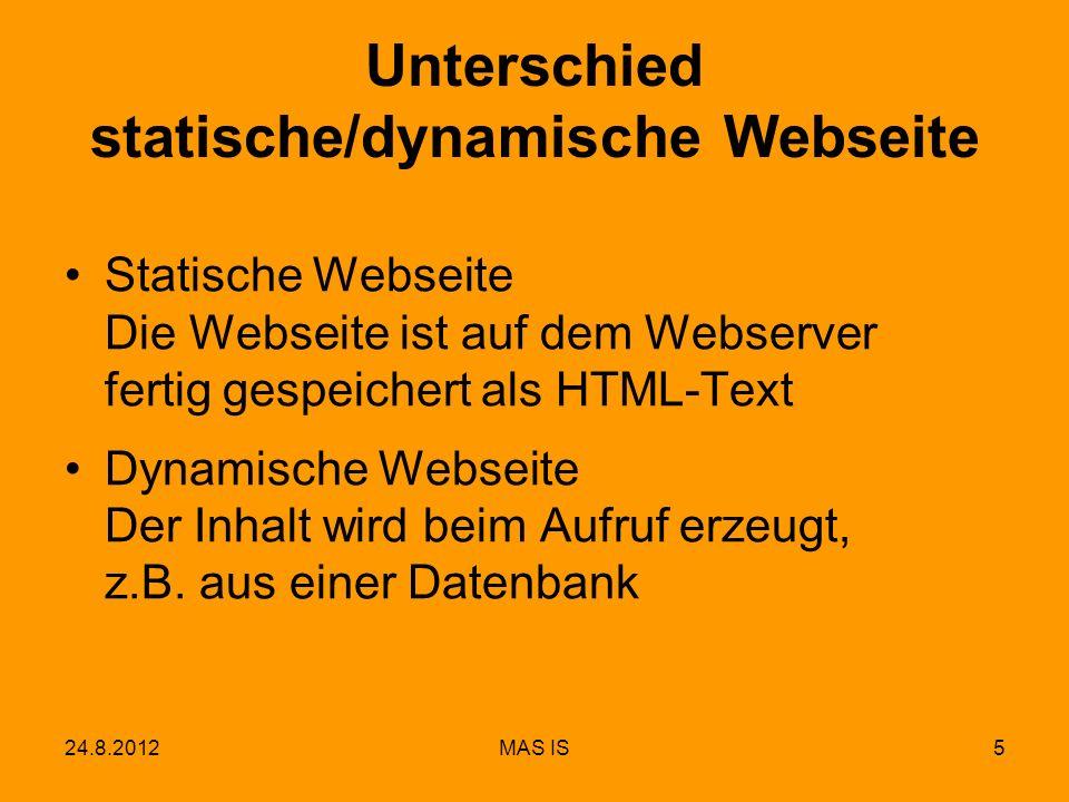 Unterschied statische/dynamische Webseite