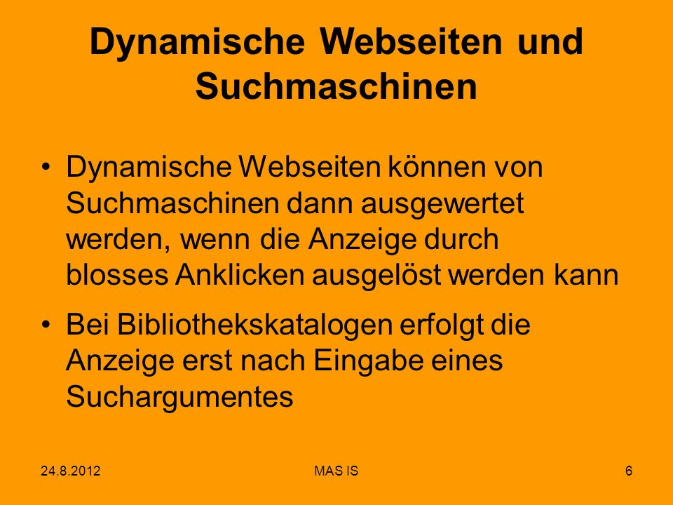 Dynamische Webseiten und Suchmaschinen