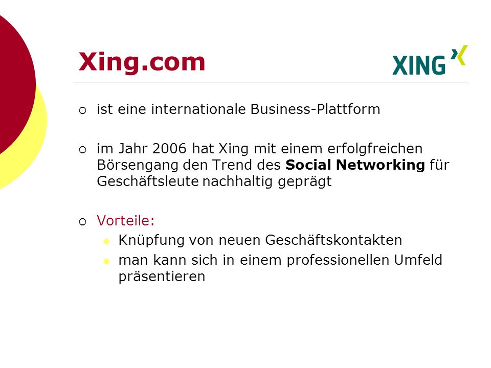 Xing.com ist eine internationale Business-Plattform