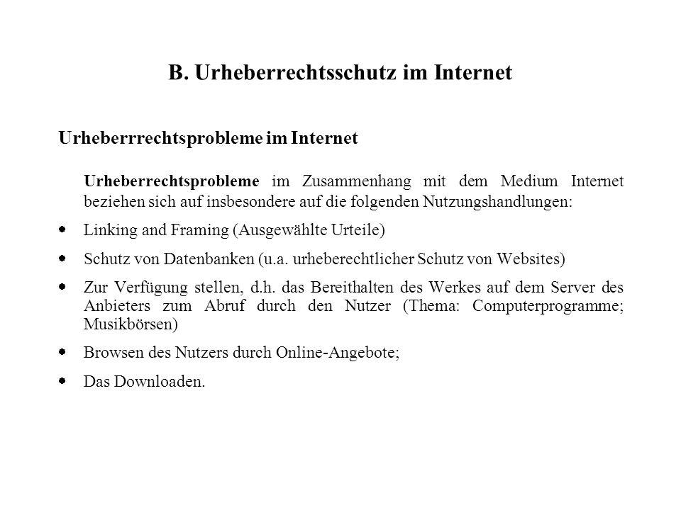 B. Urheberrechtsschutz im Internet