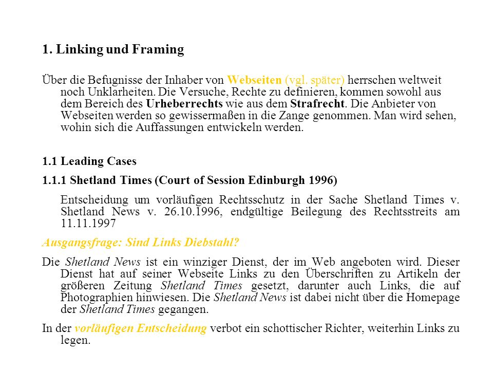 1. Linking und Framing