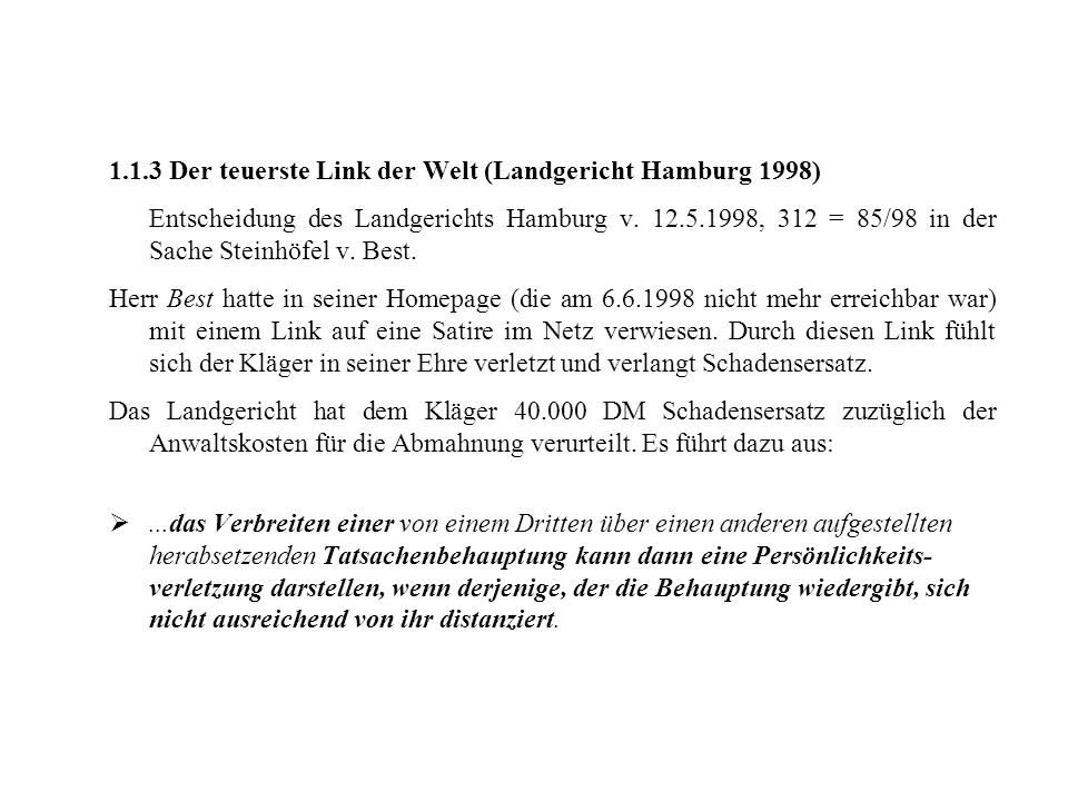 1.1.3 Der teuerste Link der Welt (Landgericht Hamburg 1998)