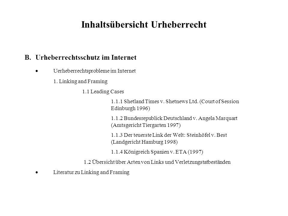 Inhaltsübersicht Urheberrecht