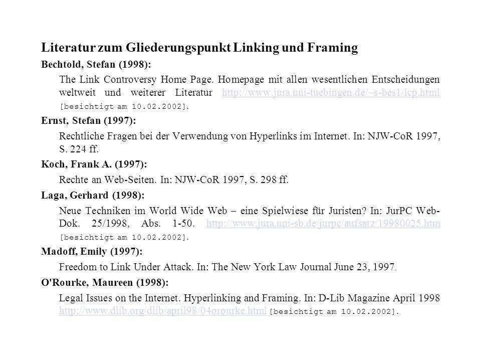 Literatur zum Gliederungspunkt Linking und Framing