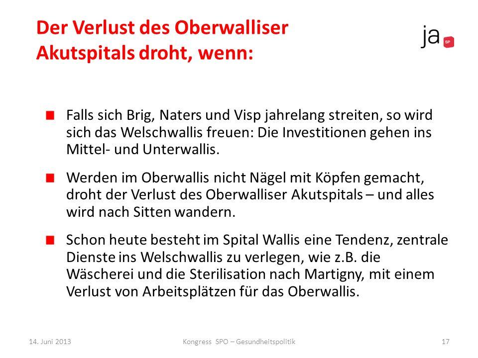 Der Verlust des Oberwalliser Akutspitals droht, wenn: