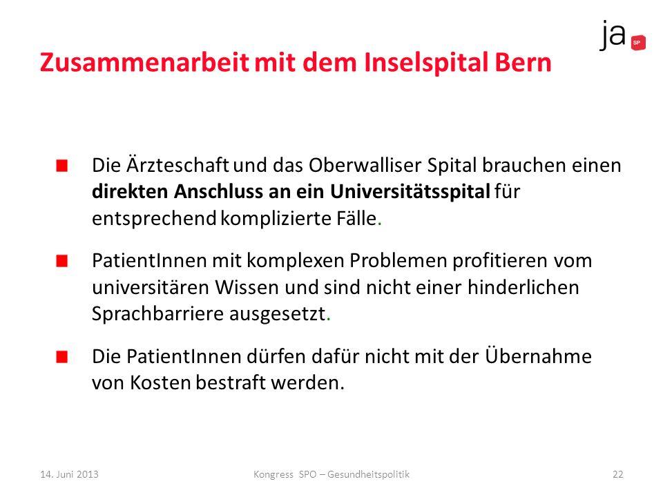 Zusammenarbeit mit dem Inselspital Bern