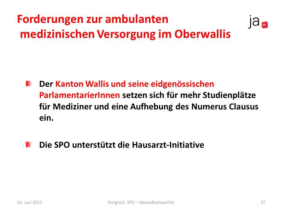 Forderungen zur ambulanten medizinischen Versorgung im Oberwallis