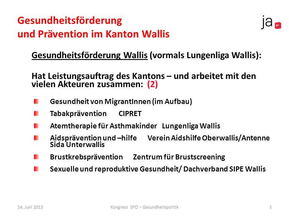 Gesundheitsförderung und Prävention im Kanton Wallis