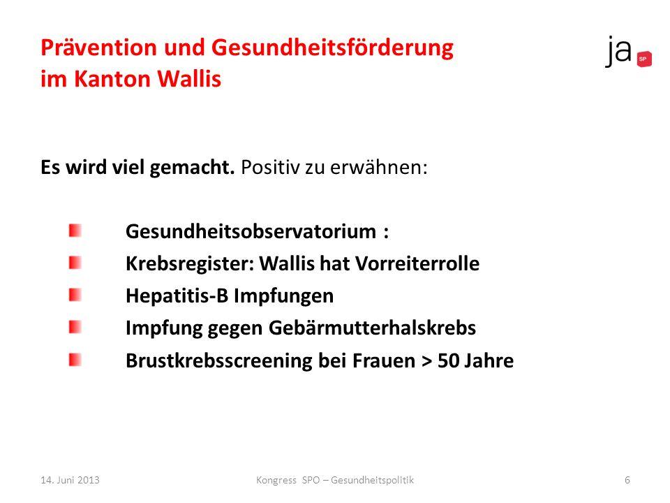 Prävention und Gesundheitsförderung im Kanton Wallis