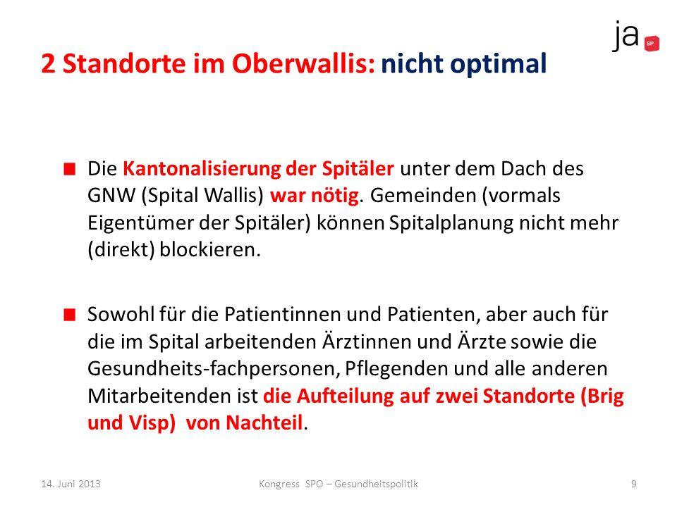 2 Standorte im Oberwallis: nicht optimal
