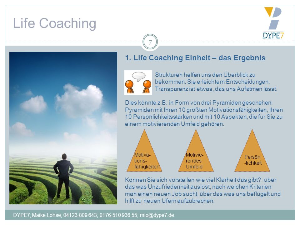 Life Coaching 1. Life Coaching Einheit – das Ergebnis