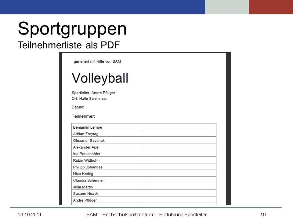 Sportgruppen Teilnehmerliste als PDF