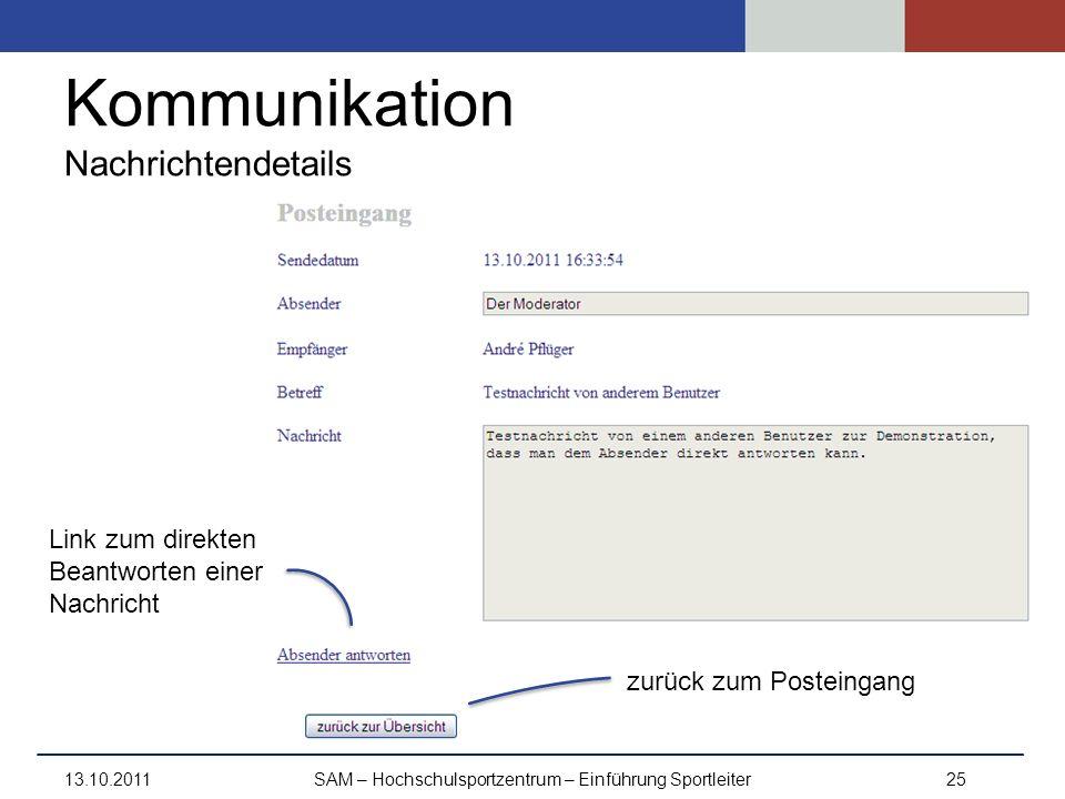 Kommunikation Nachrichtendetails