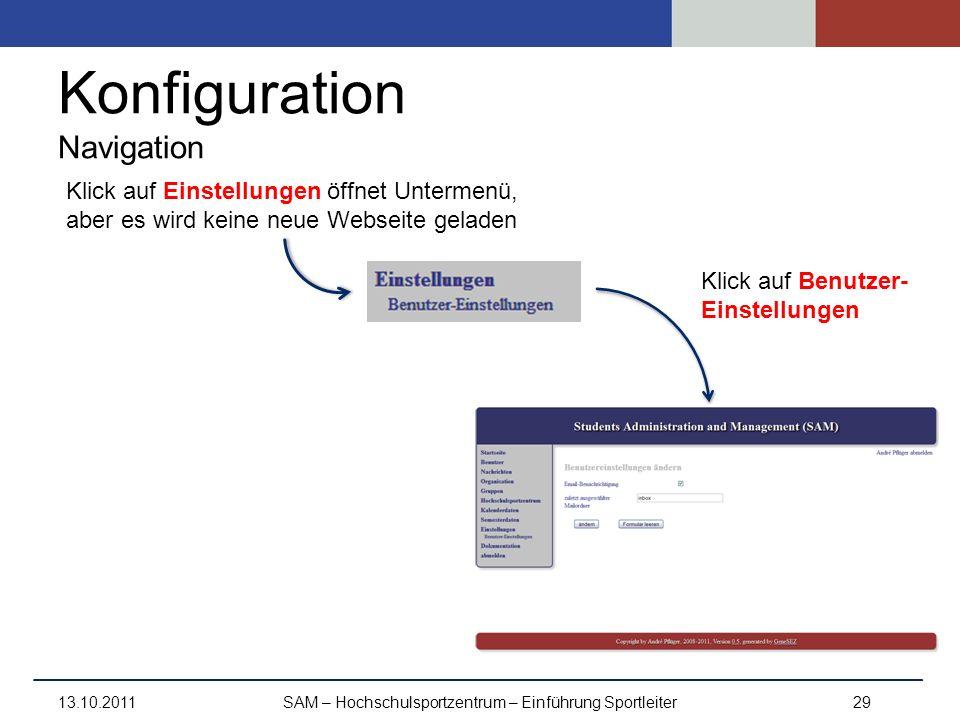 Konfiguration Navigation