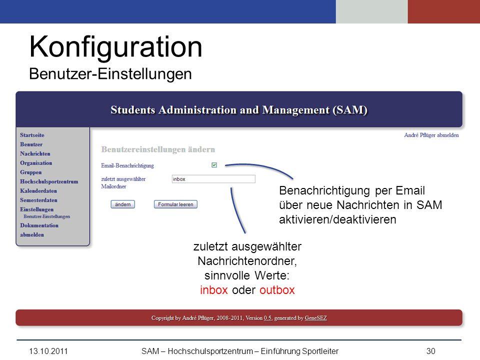 Konfiguration Benutzer-Einstellungen