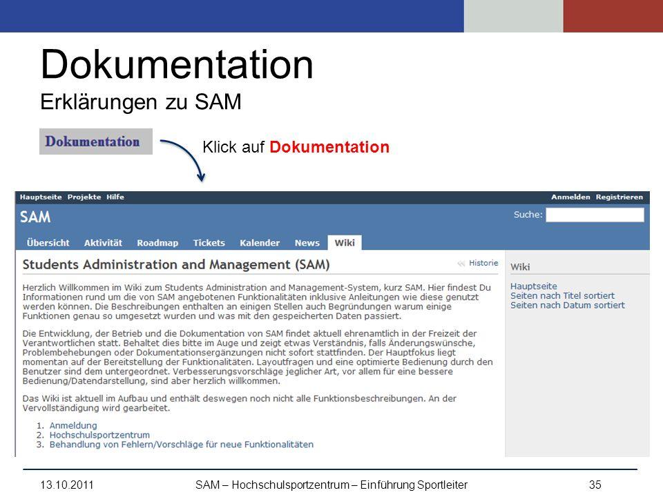 Dokumentation Erklärungen zu SAM
