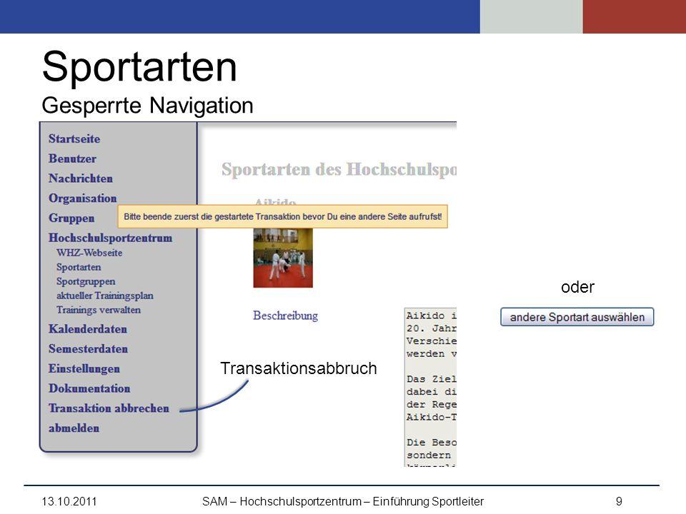 Sportarten Gesperrte Navigation