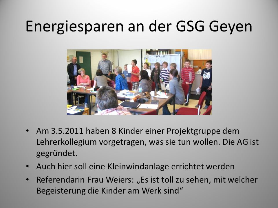 Energiesparen an der GSG Geyen