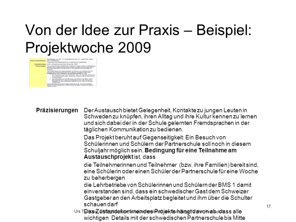 Von der Idee zur Praxis – Beispiel: Projektwoche 2009