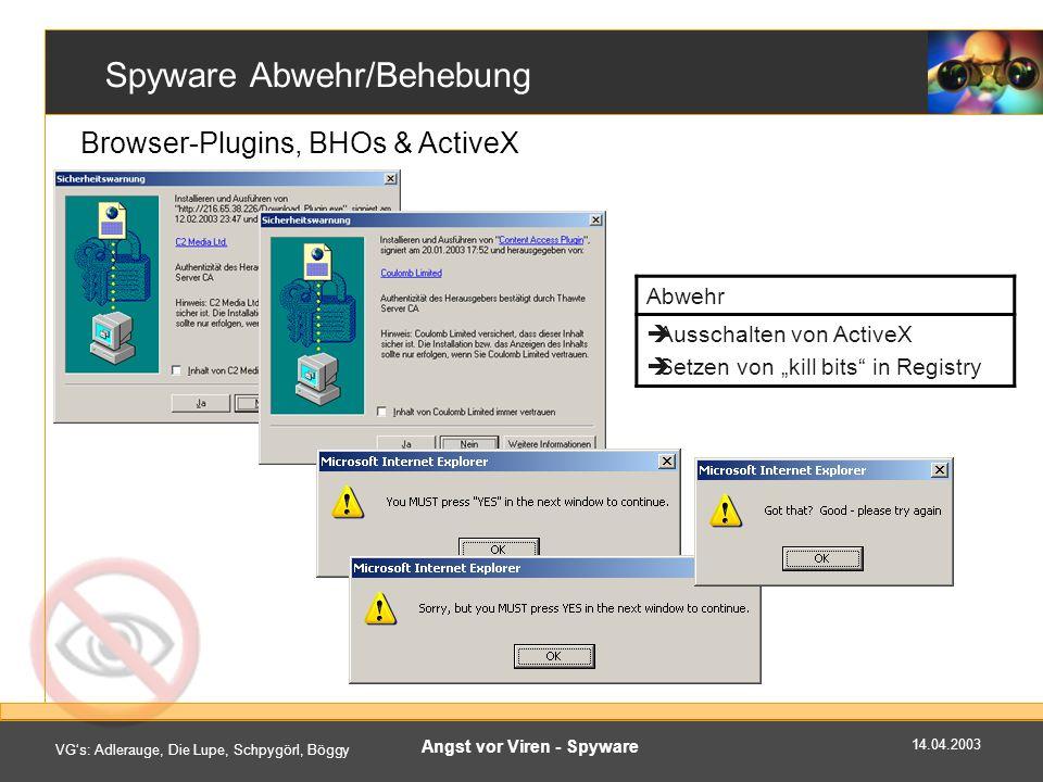 Spyware Abwehr/Behebung