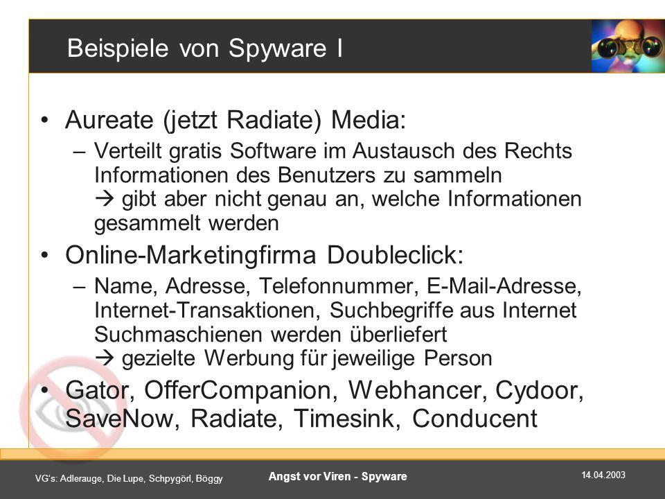 Beispiele von Spyware I