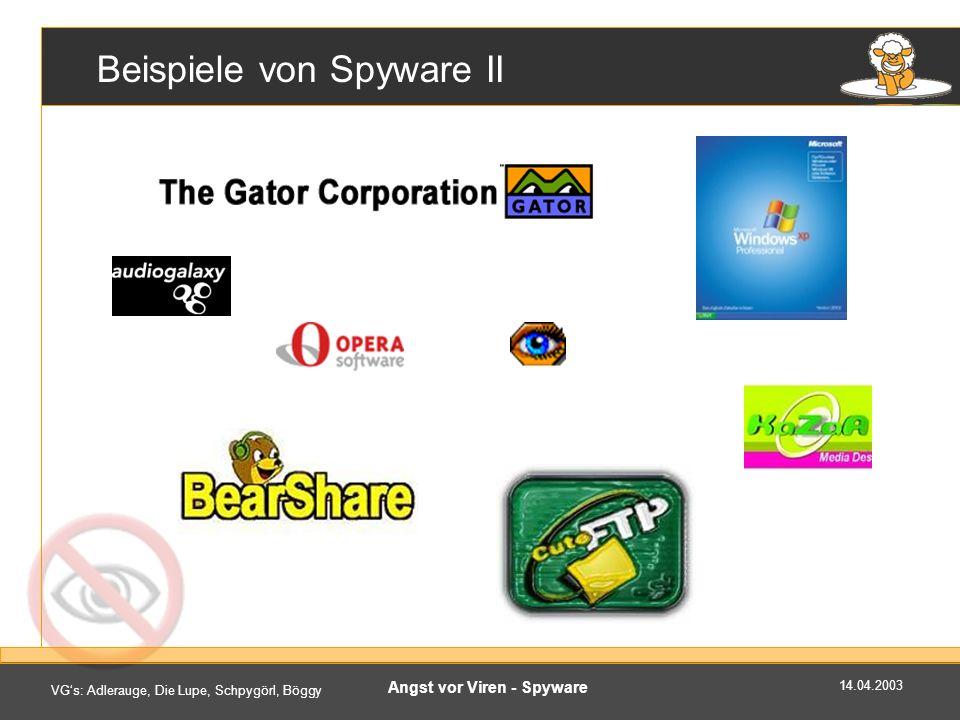 Beispiele von Spyware II