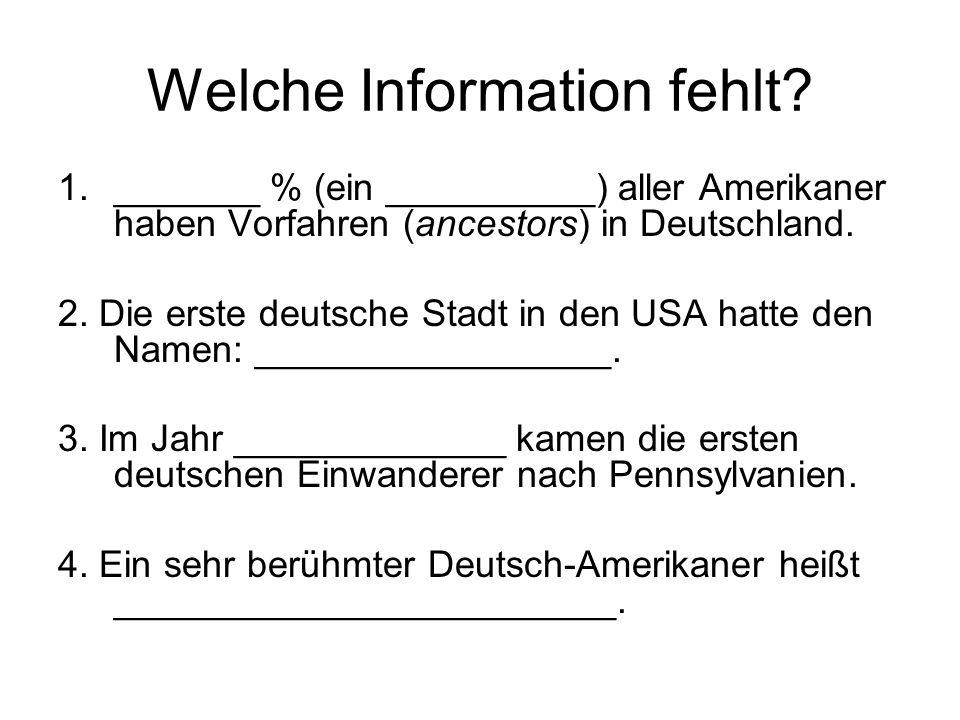 Welche Information fehlt
