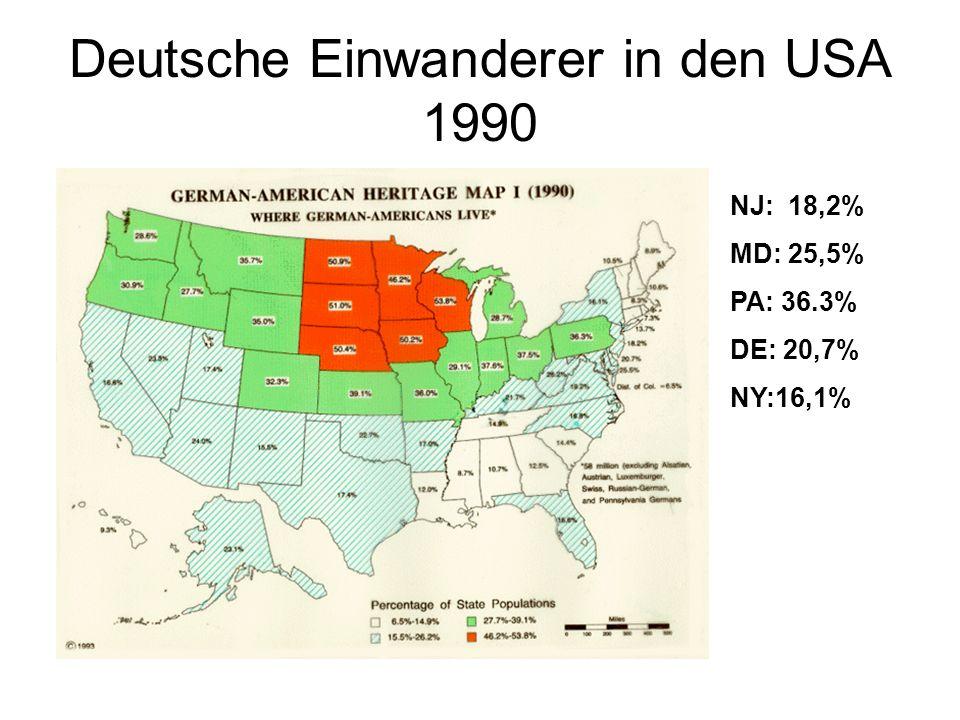 Deutsche Einwanderer in den USA 1990