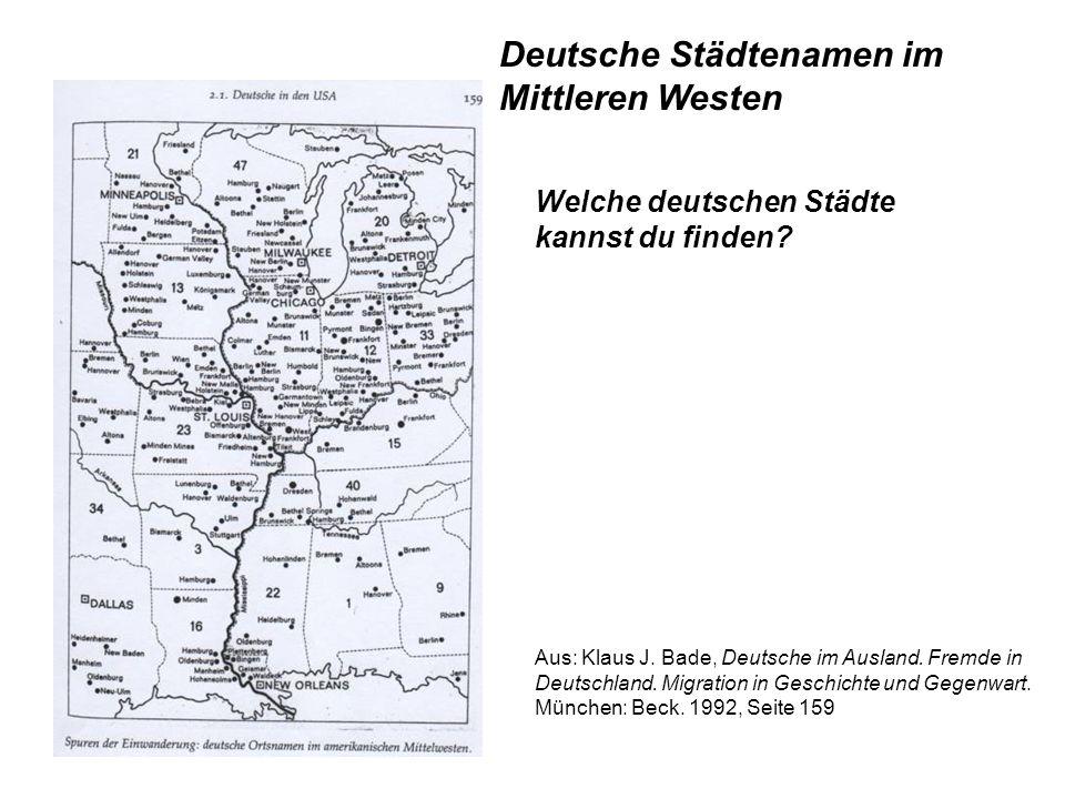 Deutsche Städtenamen im Mittleren Westen