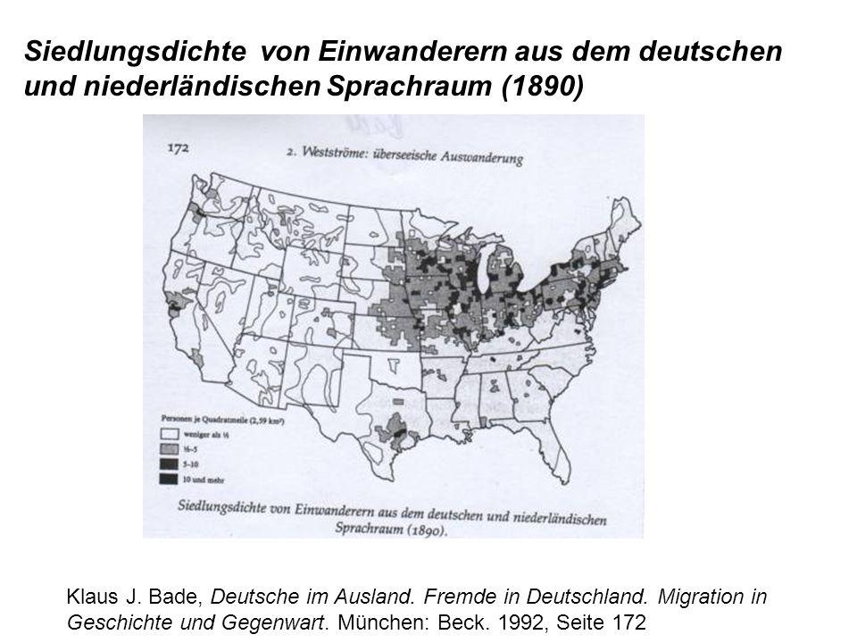 Siedlungsdichte von Einwanderern aus dem deutschen und niederländischen Sprachraum (1890)