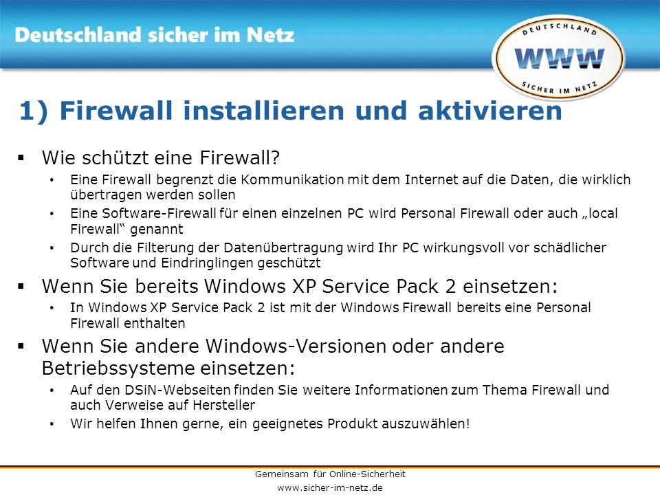 1) Firewall installieren und aktivieren