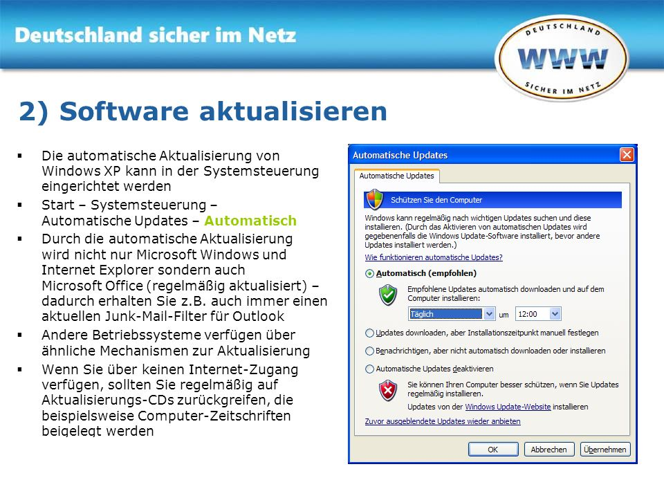 2) Software aktualisieren