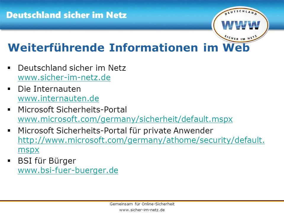 Weiterführende Informationen im Web