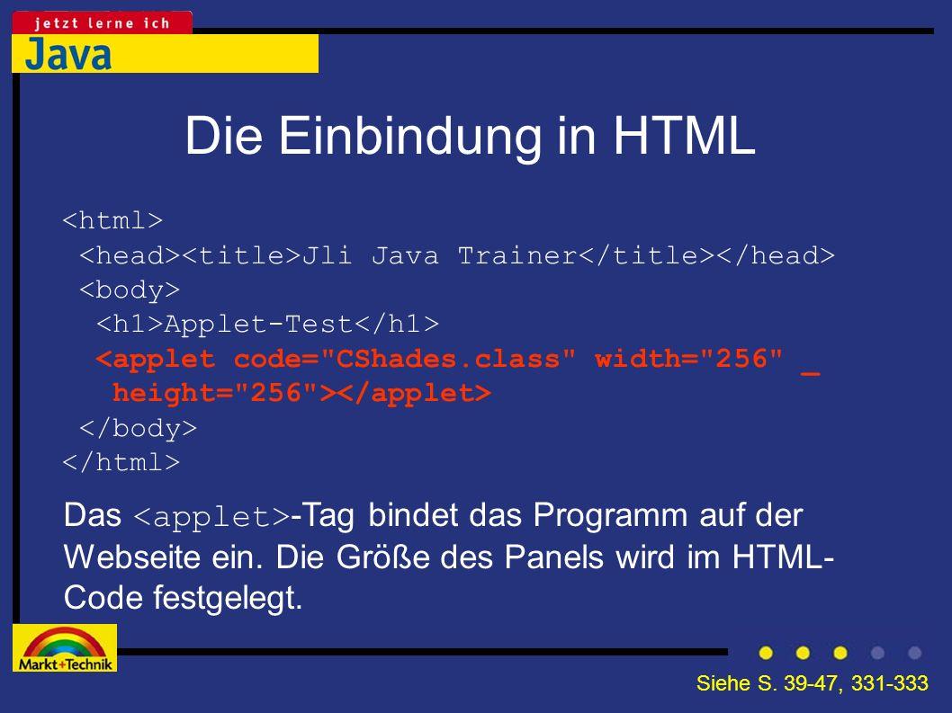 Die Einbindung in HTML <html> <head><title>Jli Java Trainer</title></head> <body> <h1>Applet-Test</h1>