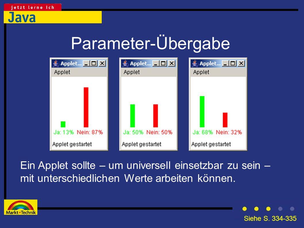 Parameter-Übergabe Ein Applet sollte – um universell einsetzbar zu sein – mit unterschiedlichen Werte arbeiten können.