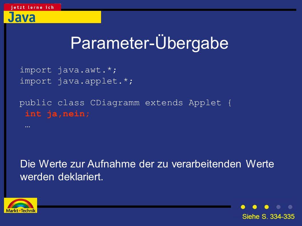 Parameter-Übergabe import java.awt.*; import java.applet.*; public class CDiagramm extends Applet {