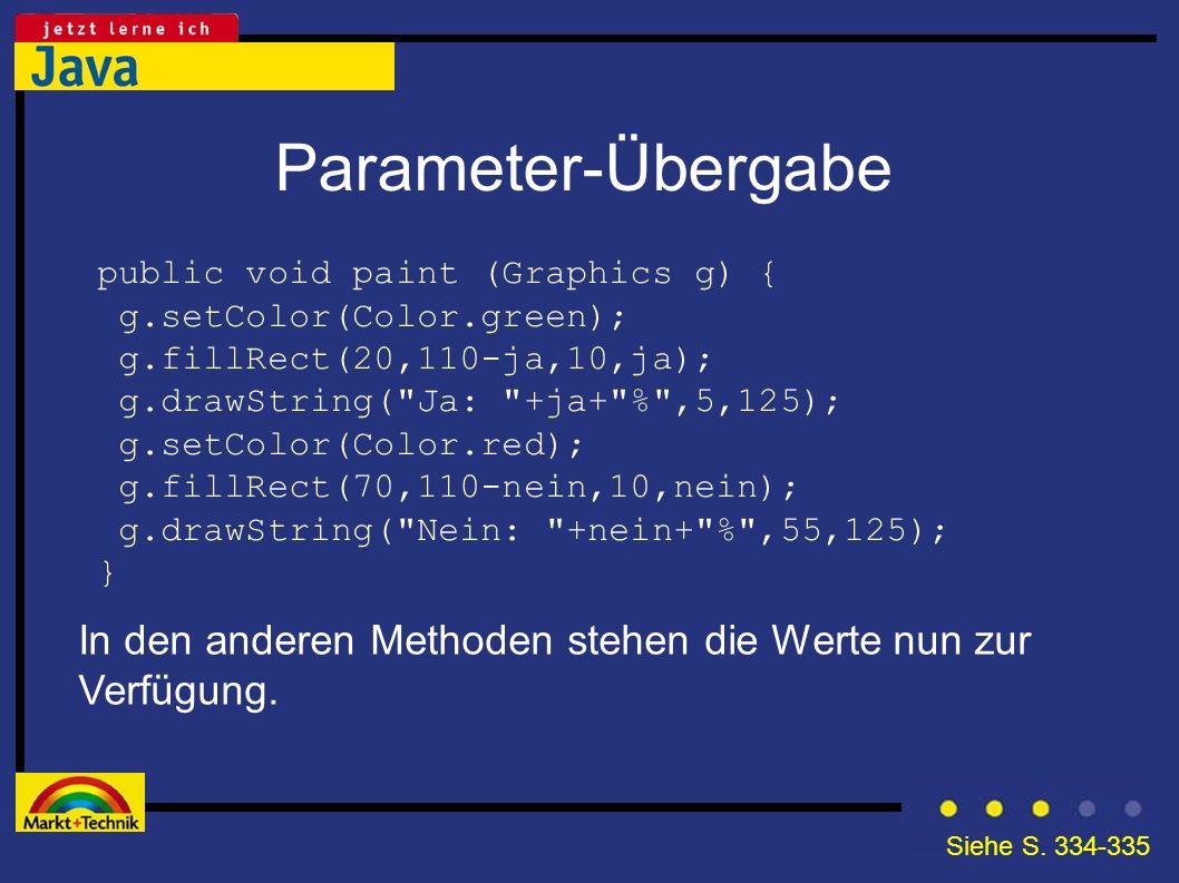 Parameter-Übergabe public void paint (Graphics g) { g.setColor(Color.green); g.fillRect(20,110-ja,10,ja);