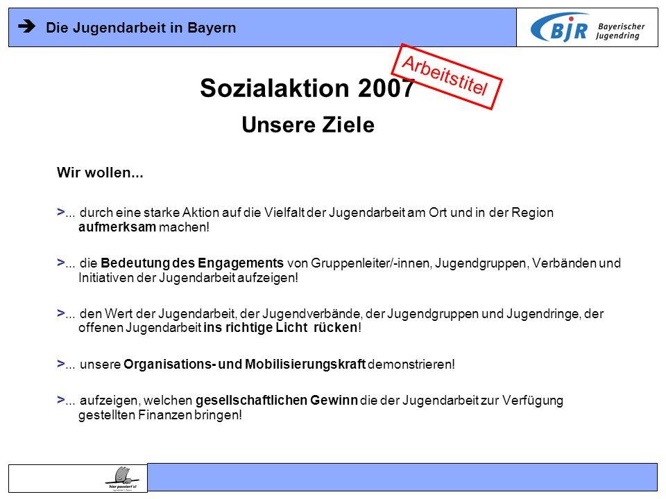 Sozialaktion 2007 Unsere Ziele Arbeitstitel Wir wollen...