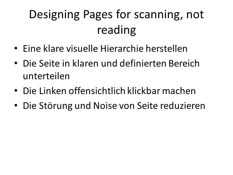 Designing Pages for scanning, not reading