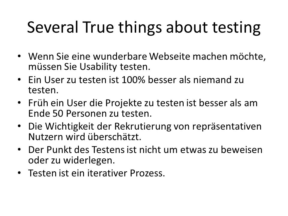 Several True things about testing