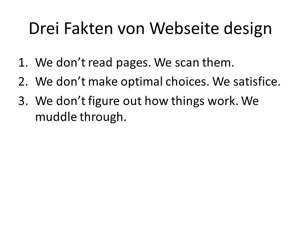 Drei Fakten von Webseite design