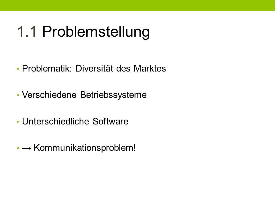 1.1 Problemstellung Problematik: Diversität des Marktes