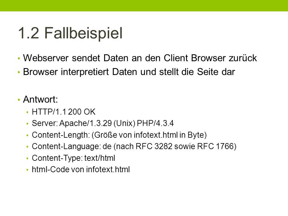 1.2 Fallbeispiel Webserver sendet Daten an den Client Browser zurück
