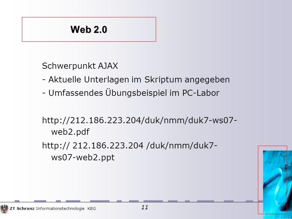 Web 2.0 Schwerpunkt AJAX - Aktuelle Unterlagen im Skriptum angegeben
