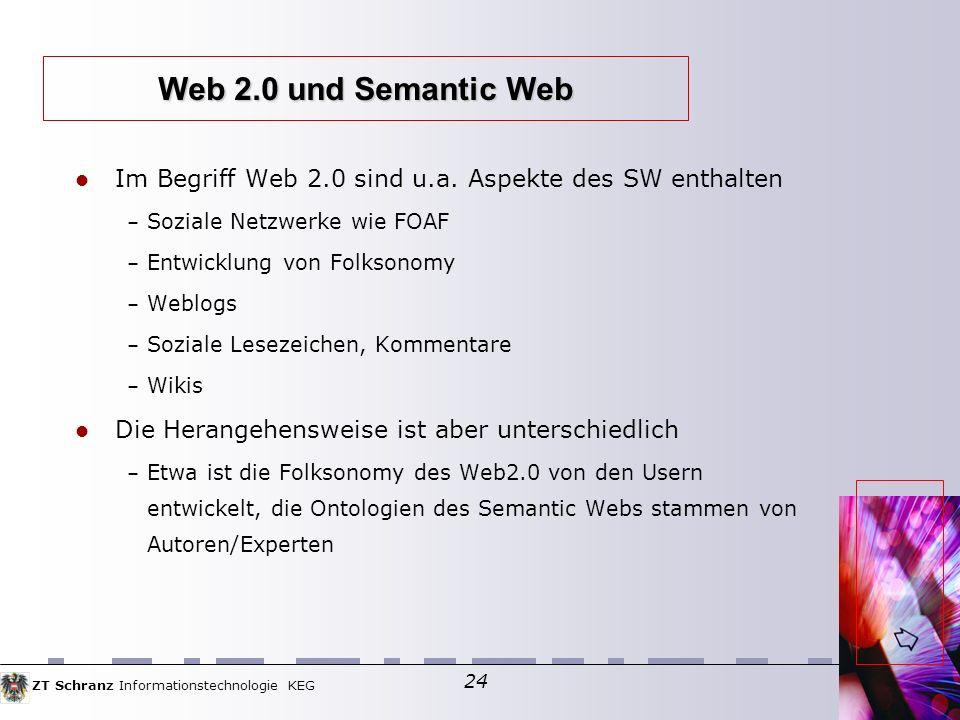 Web 2.0 und Semantic Web Im Begriff Web 2.0 sind u.a. Aspekte des SW enthalten. Soziale Netzwerke wie FOAF.