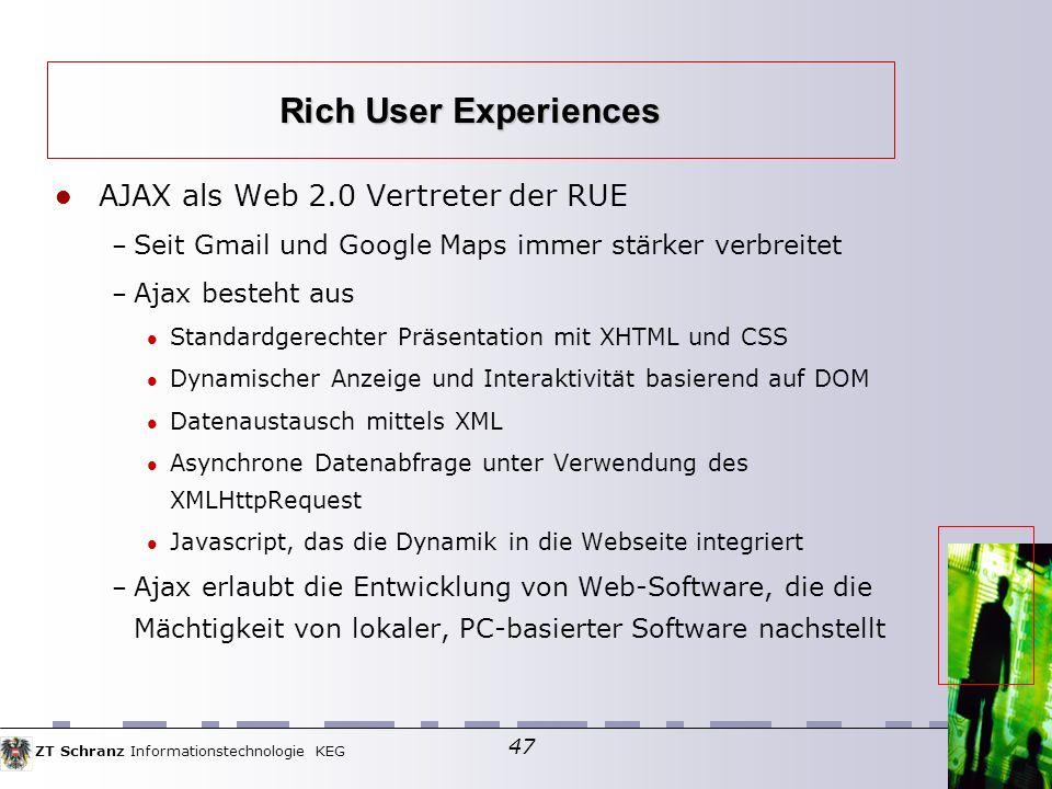 Rich User Experiences AJAX als Web 2.0 Vertreter der RUE
