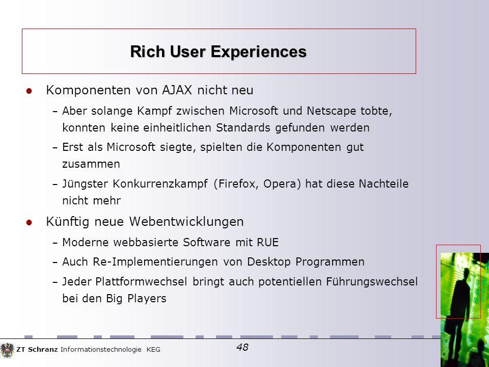 Rich User Experiences Komponenten von AJAX nicht neu